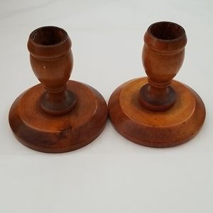 Accents - Set of wooden candle holders